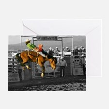 Rodeo Cowboy In Green Greeting Card