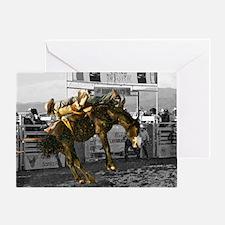 Brave Rodeo Cowboy Kicking Up The Du Greeting Card