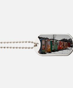 Many Vintage Gas Pumps Standing To Attent Dog Tags