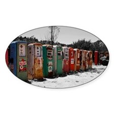 Many Vintage Gas Pumps Standing To  Decal