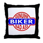 Genuine Biker BadAss Throw Pillow
