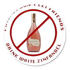 No White Zin Round Car Magnet