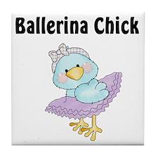 Tweeting Ballerina Chick Tile Coaster