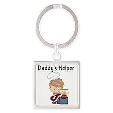 Daddys Helper BBQ Square Keychain