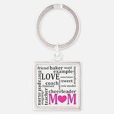 Description of Mom Square Keychain