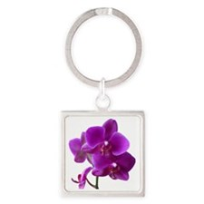 Striking Purple Orchid Flower Square Keychain