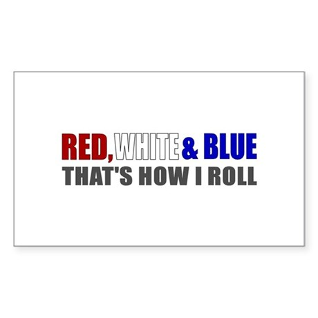 Red White and Blue Rectangle Sticker