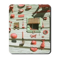 Bisbee Red Art Wall Shower Curtain Mousepad