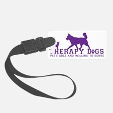 Therapy dogs purple Luggage Tag