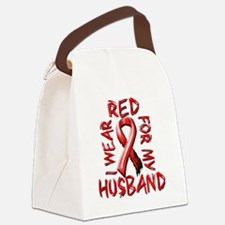 I Wear Red for my Husband Canvas Lunch Bag