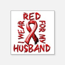 "I Wear Red for my Husband Square Sticker 3"" x 3"""
