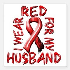 "I Wear Red for my Husban Square Car Magnet 3"" x 3"""