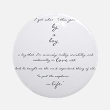 by a boy poem Round Ornament