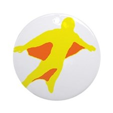 Wingsuit Silhouette 2 Yellow Round Ornament