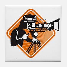 film crew cameraman shooting filming  Tile Coaster