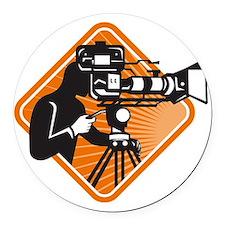 film crew cameraman shooting film Round Car Magnet