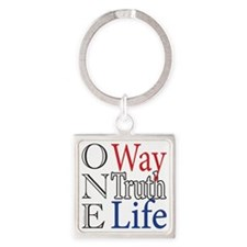 One Way, Truth, Life Square Keychain