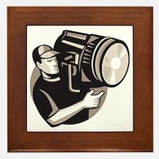 film crew with spotlight fresnel light Framed Tile