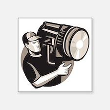 "film crew with spotlight fr Square Sticker 3"" x 3"""