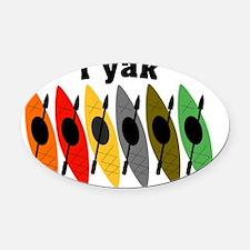kayak i yak 6 orange to green Oval Car Magnet