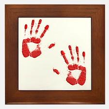 Bloody ZOmbie handprints Framed Tile