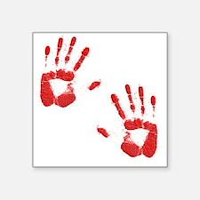 "Bloody ZOmbie handprints Square Sticker 3"" x 3"""
