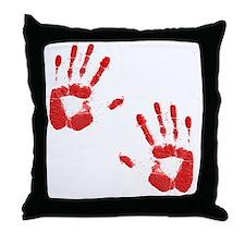 Bloody ZOmbie handprints Throw Pillow