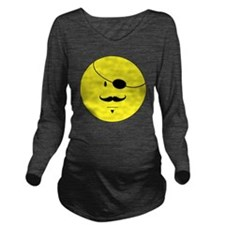 Smiley Face Mustache Long Sleeve Maternity T-Shirt