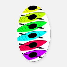 kayak 6 bright VERTICAL Oval Car Magnet