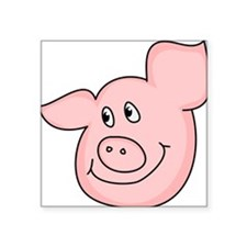 "Piggy Square Sticker 3"" x 3"""
