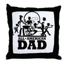 BBQ All American Dad Throw Pillow