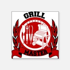 "BBQ Grill Master Square Sticker 3"" x 3"""