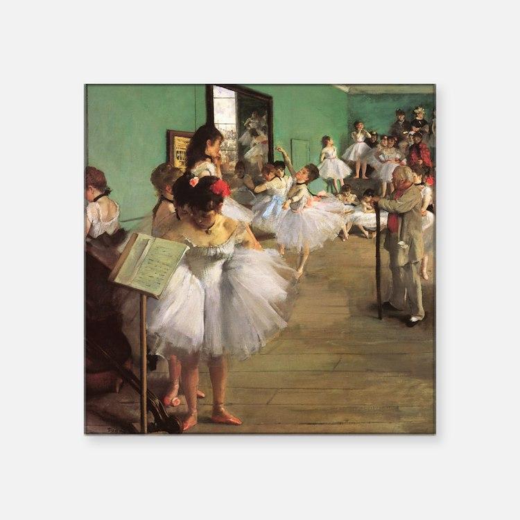 "Edgar Degas Dancing Class Square Sticker 3"" x 3"""