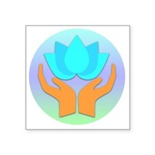 "Lotus Flower - Healing Hand Square Sticker 3"" x 3"""