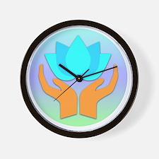 Lotus Flower - Healing Hands Wall Clock