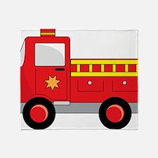 Cartoon Firetruck Throw Blanket