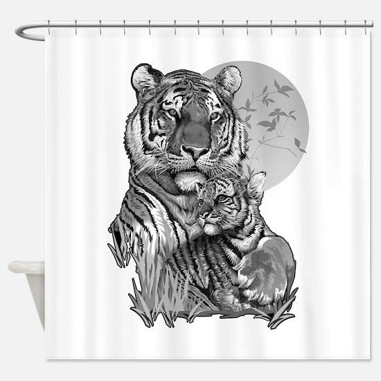 Tiger and Cub (B/W) Shower Curtain