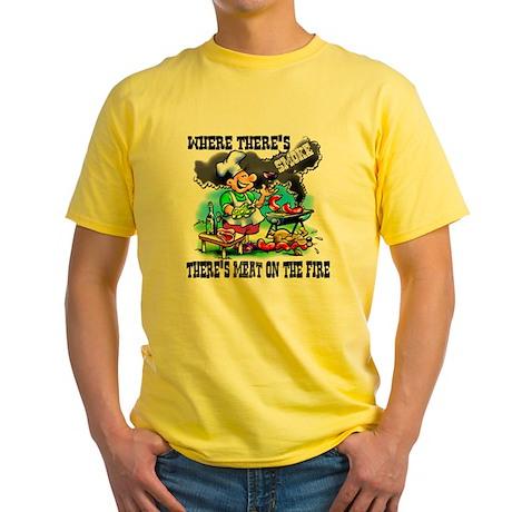 Where Theres Smoke BBQ Yellow T-Shirt