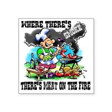 "Where Theres Smoke BBQ Square Sticker 3"" x 3"""