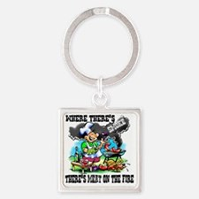 Where Theres Smoke BBQ Square Keychain