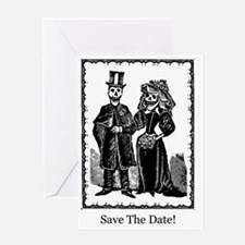 Save The Date - Skeletons White Greeting Card
