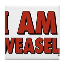 I Am Weasel Logo Tile Coaster