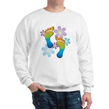 Rainbow Footprints with 70s Flowers Jumper