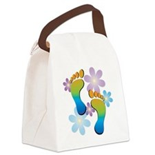 Rainbow Footprints with 70s Flowe Canvas Lunch Bag