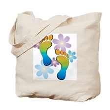 Rainbow Footprints with 70s Flowers Tote Bag
