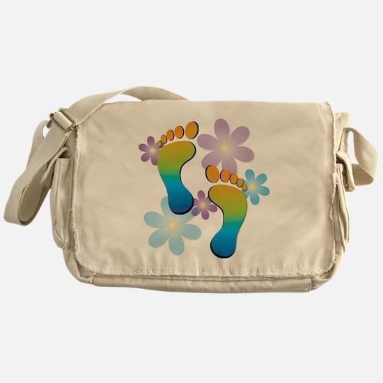 Rainbow Footprints with 70s Flowers Messenger Bag