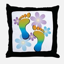 Rainbow Footprints with 70s Flowers Throw Pillow