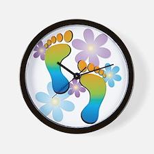 Rainbow Footprints with 70s Flowers Wall Clock