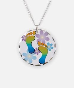 Rainbow Footprints with 70s  Necklace