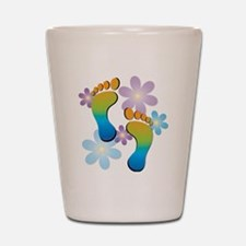 Rainbow Footprints with 70s Flowers Shot Glass